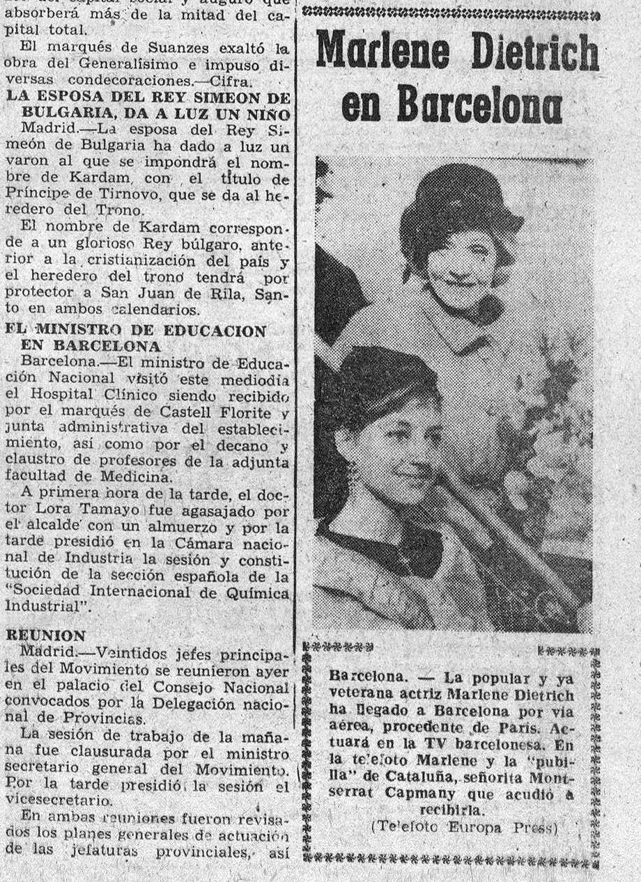 Dietrich en Barcelona ( Diario de Burgos , 5 de diciembre de 1962)