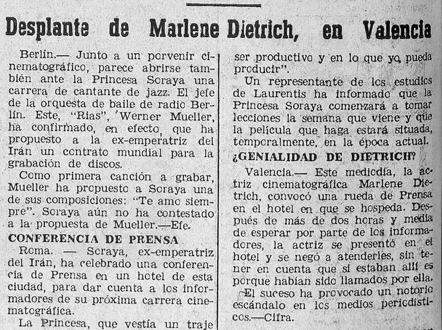 La tercera visita a España, en marzo de 1963, esta vez a Valencia ( Diario de Burgos , 16 de marzo de 1963)