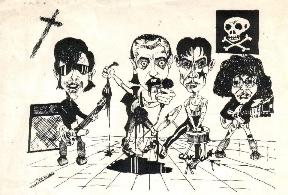 La banda al completo dibujada por Toni Bi Good (1981)