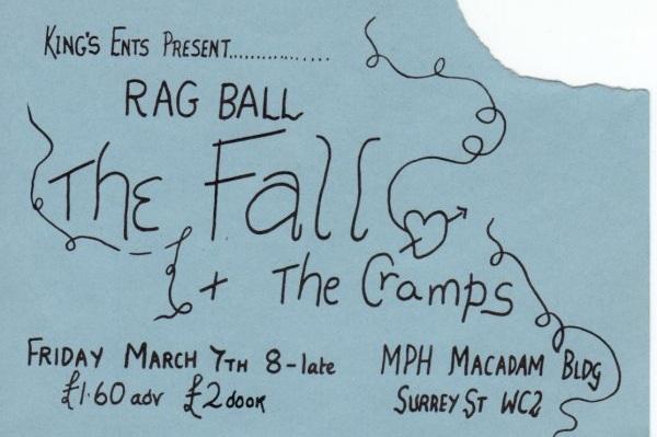 The Cramps teloneando a The Fall el 7 de marzo de 1980 en MPH Building, King's College, Londres