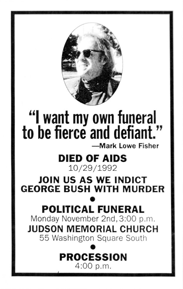 Cartel del funeral político de Mark Fisher. Act Up Memorial Flyer (Judson Memorial Church)