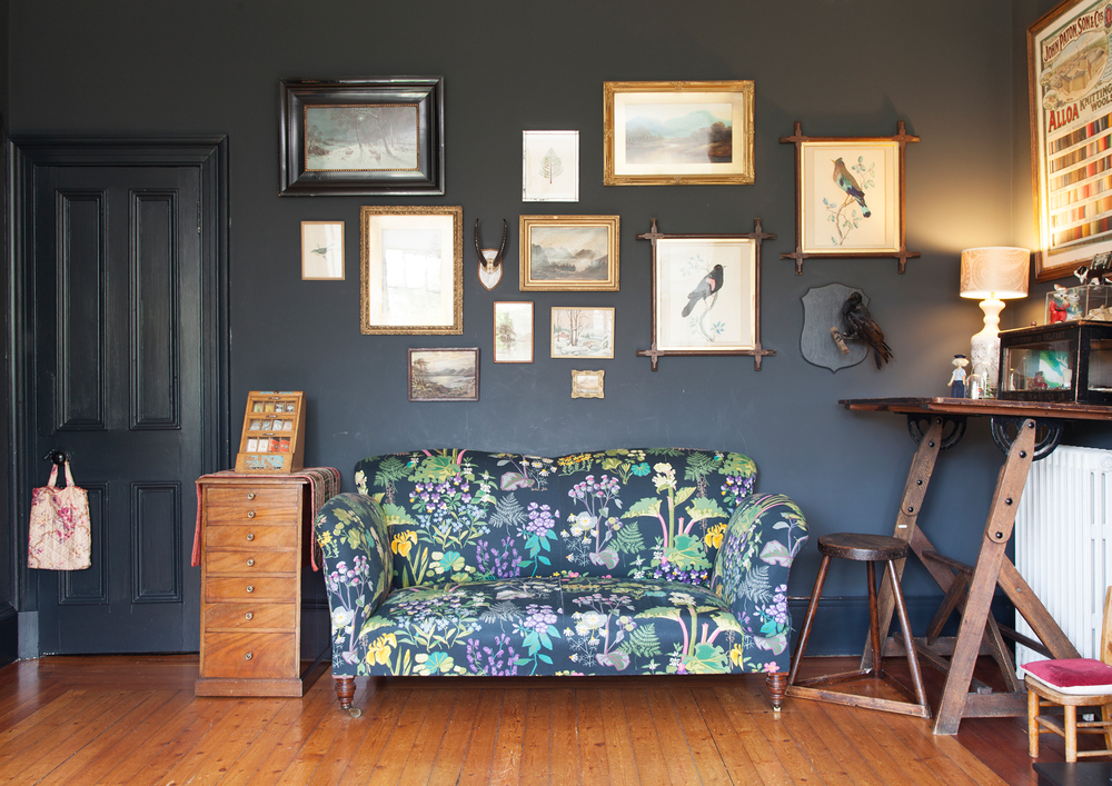 Colour pop patterned sofa against a dark backdrop of F&B Railings/Photo: Susie Lowe