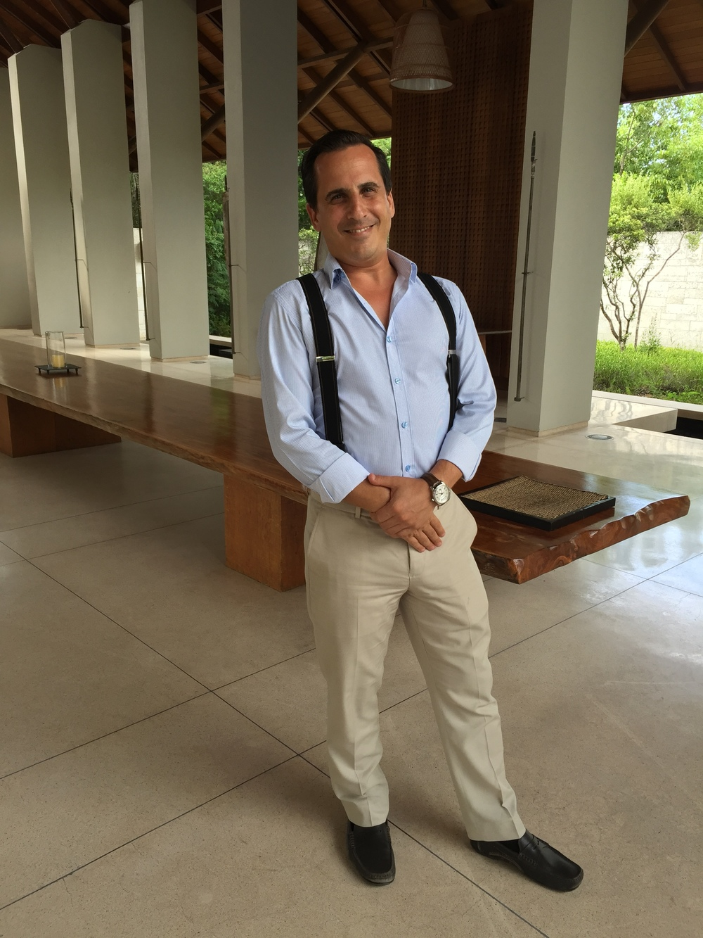 Serge from Switzerland, Amanyara's lovely Resort Manager who always matches his braces to his socks