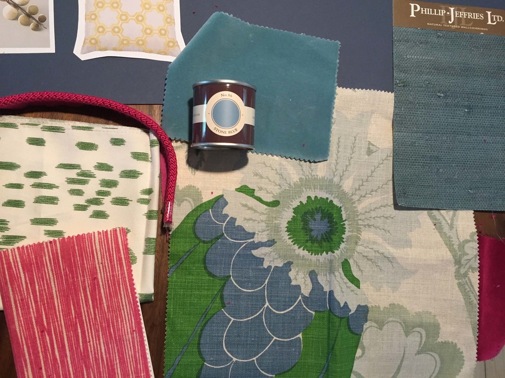 Jessica Buckley Interiors fabric samples for The Pink House den