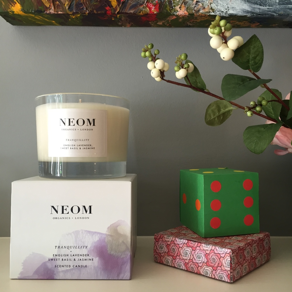 A Neom candle from Zen Lifestyle sitting pretty in The Pink House