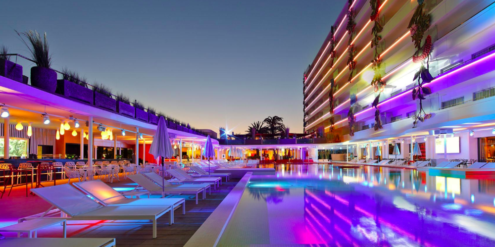 The Tower Pool at Ushuaia, Ibiza, where we did drinking