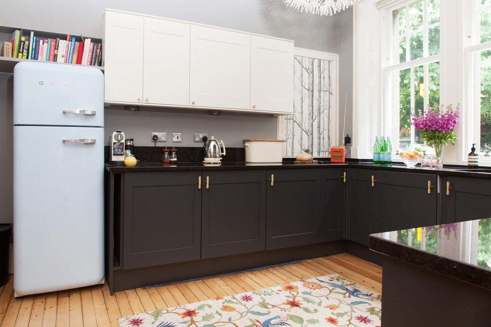 Black kitchen cupboards brass Buster + Punch handles