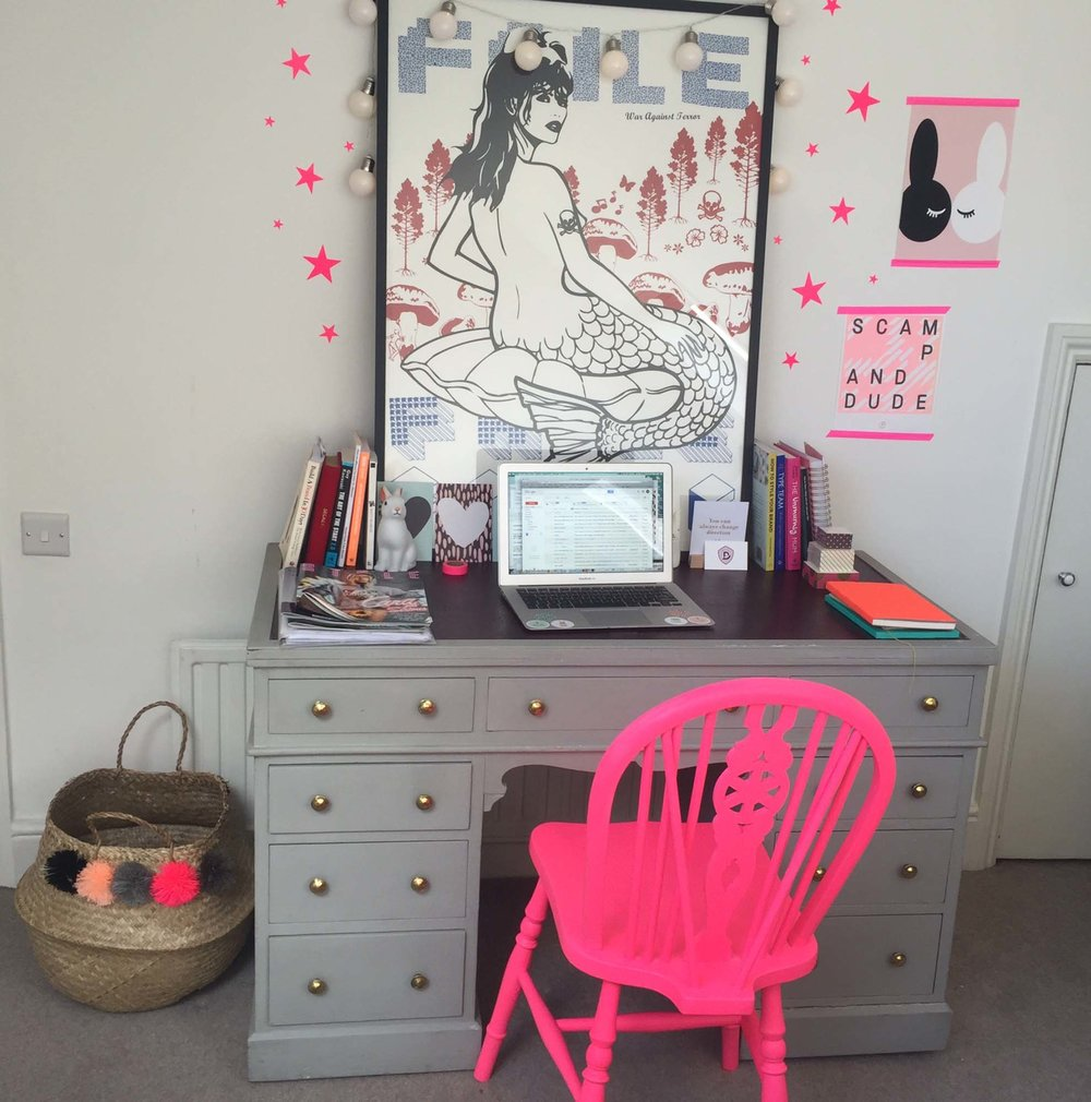 Jo's office, with neon pink chair