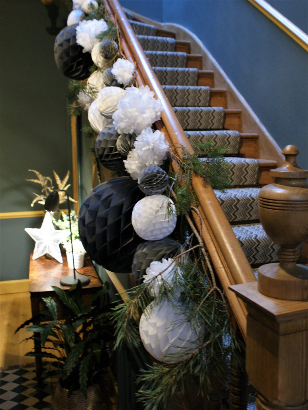 @around_houses  Fiona Cameron's pom-pom decorated Christmas staircase