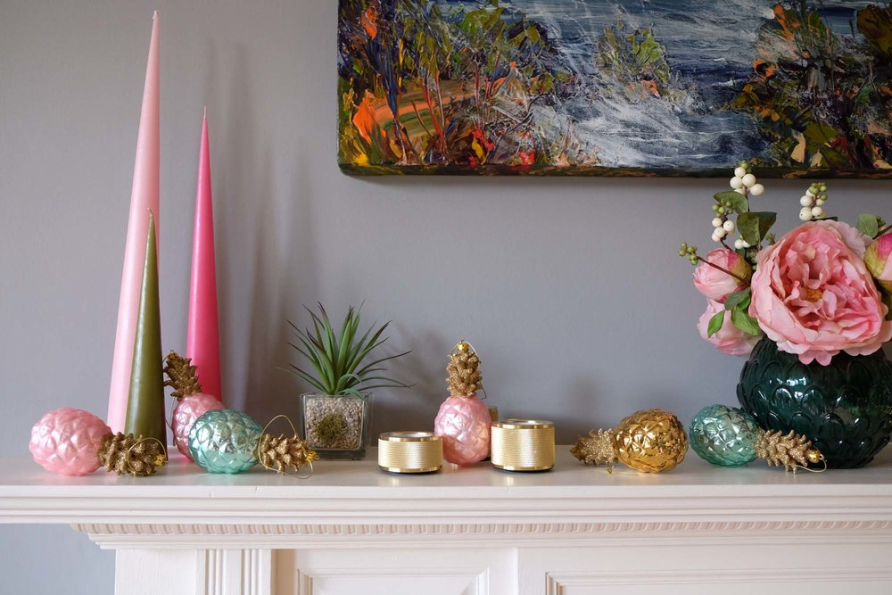 Pineapple decorations: Oliver Bonas/Candles: Bluebellgray/Brass candleholders: Buster + Punch
