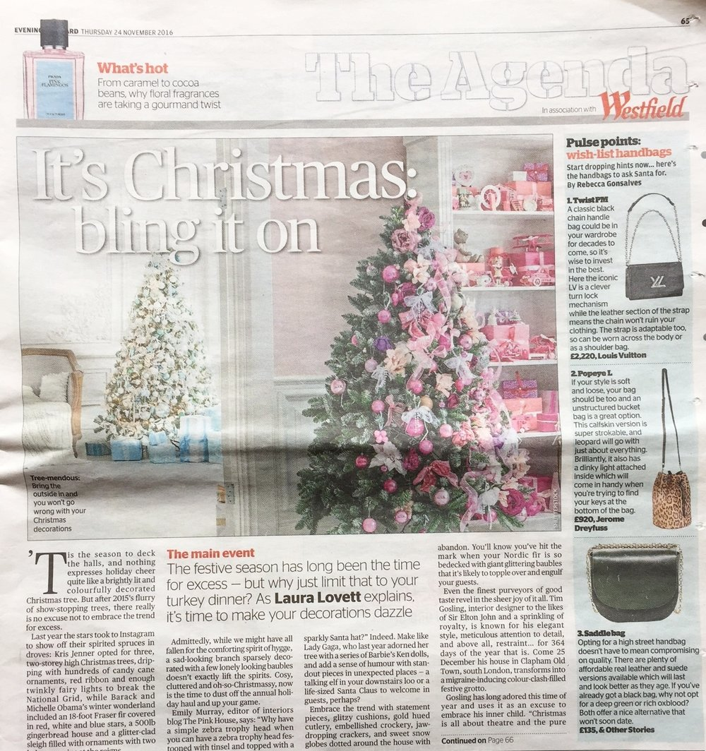 The Pink House on Christmas excessive decor in London Evening Standard