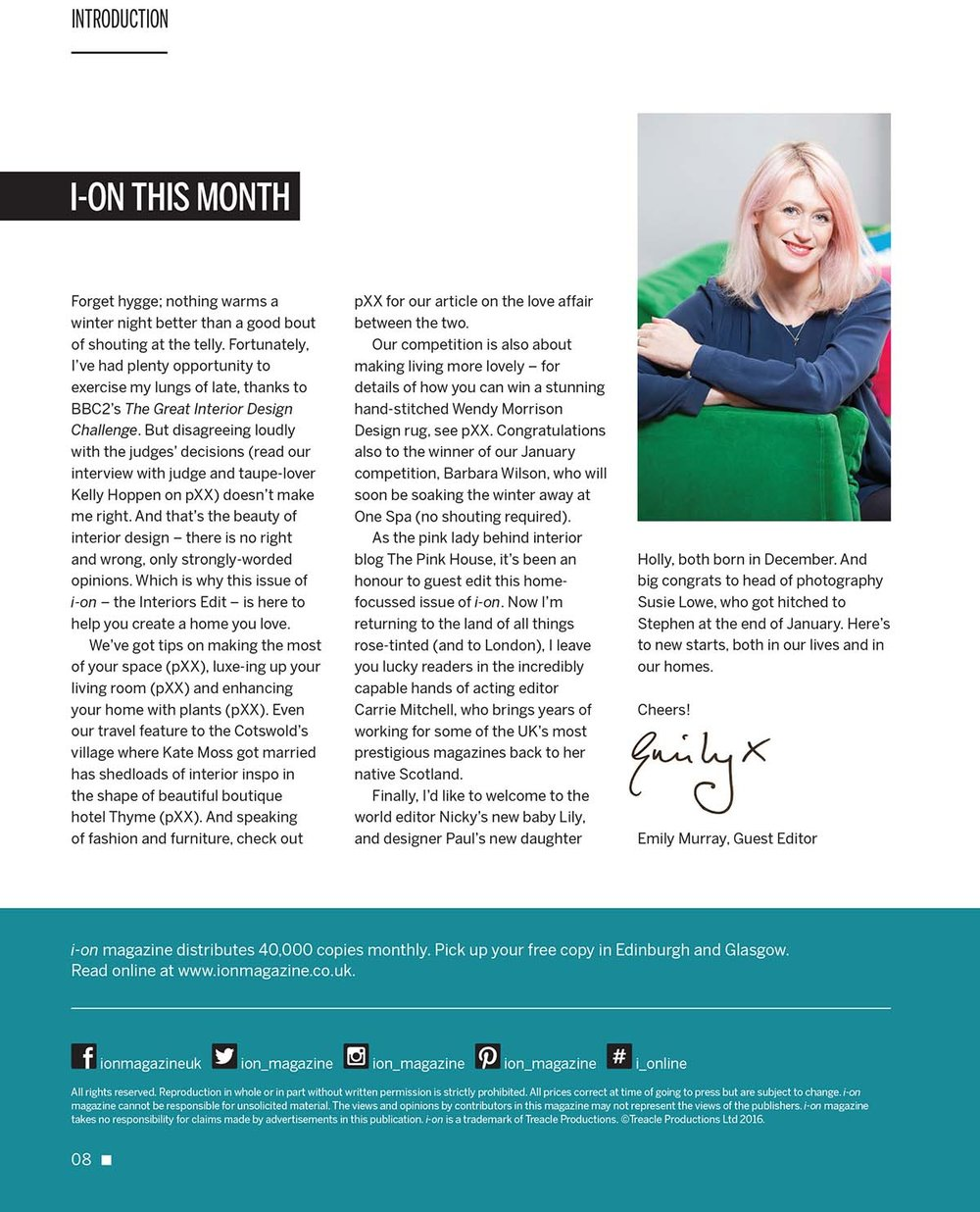Emily Murray acting editor i-on magazine