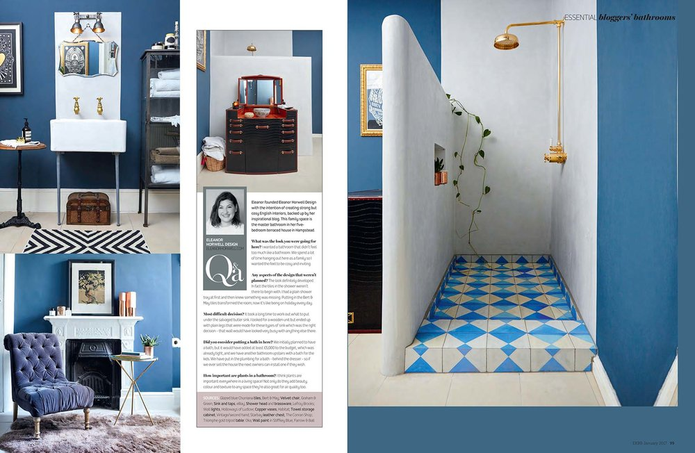 Blogger bathrooms Eleanor Horwell Design in EKBB magazine