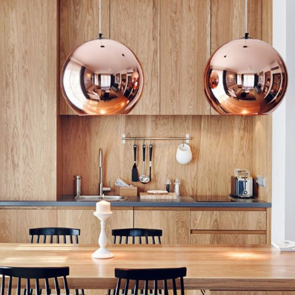 Tom Dixon's copper pendant light x 2 (but that's still only 1 item ticked off)