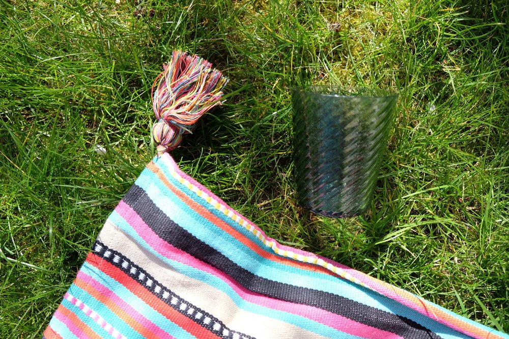 M&S picnic blanket in The Pink House's garden