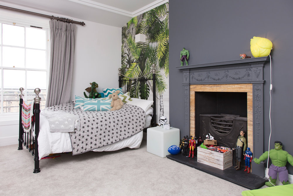 Anna's five-year-old Hulk-lover's bedroom with its pops of green/Photo: Susie Lowe