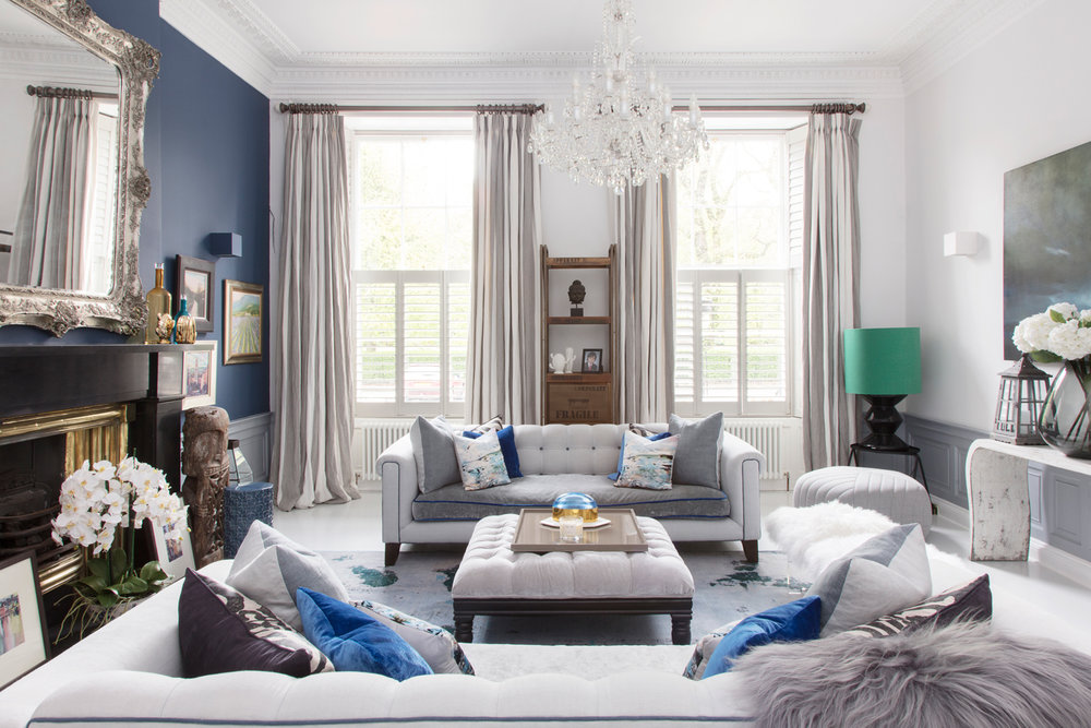 The stunning blue sitting room is filled with PAD decor/Photo: Susie Lowe