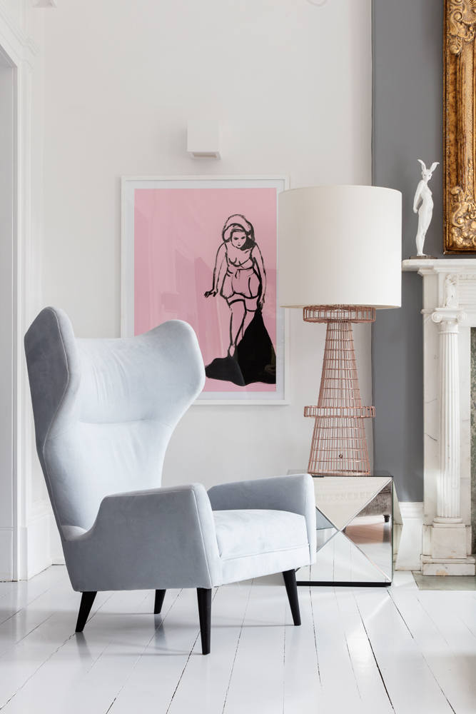 A beautiful Jonathan Adler grey wingback chair/Photo: Susie Lowe