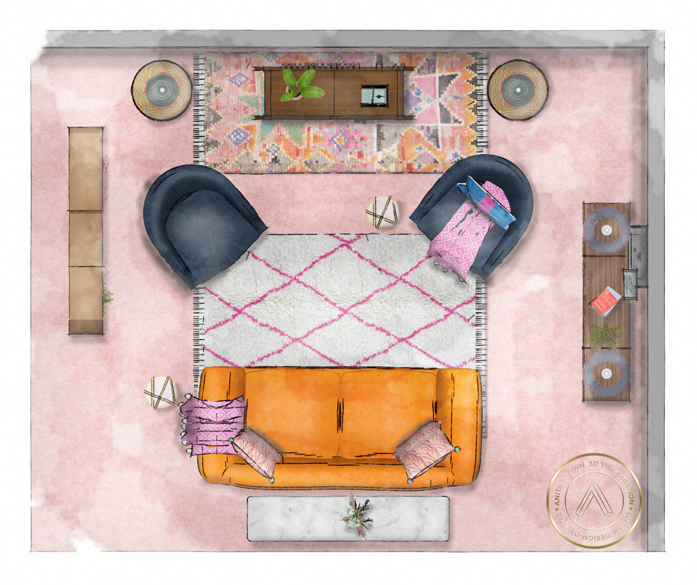 The Pink House's Style Room at the House & Garden Festival/Sketch by Anita Brown 3D Visualisation