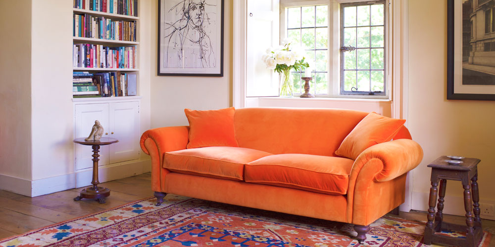 Orange velvet sofa from Sofas & Stuff
