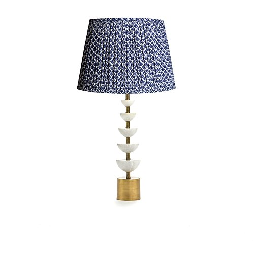 Pooky Crescent table lamp with Temple Blue block printed cotton.jpg