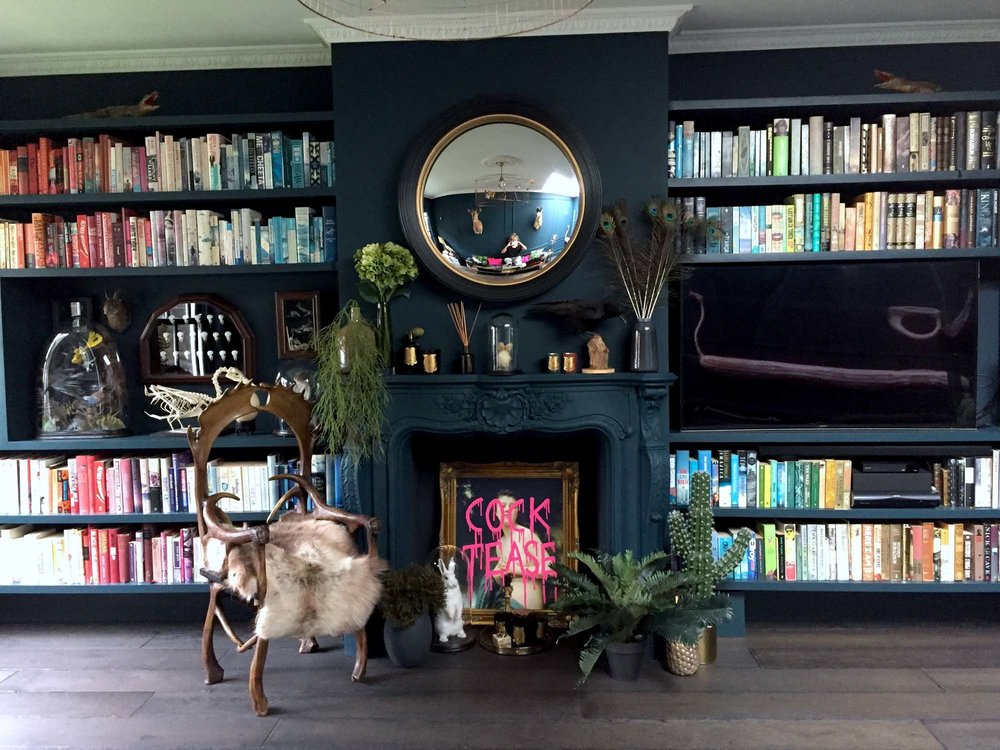 Laurie's living room, painted in Abigail Ahern  Rivington Blue