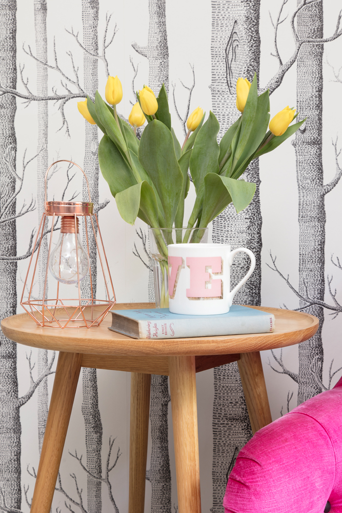 led coffee table vignette with rose gold Primark light and Dandy Stars LOVE mug