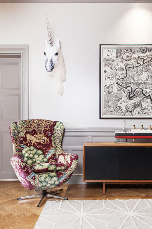 Unicorn taxidermy and WIlliam Morris upholstered egg chairs, and Grayson Perry's Map of Days