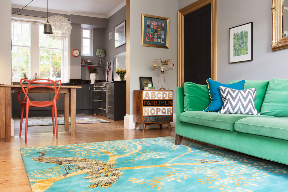 Wendy's Enchanted Wood rug in The Pink House's living room/Photo: Susie Lowe