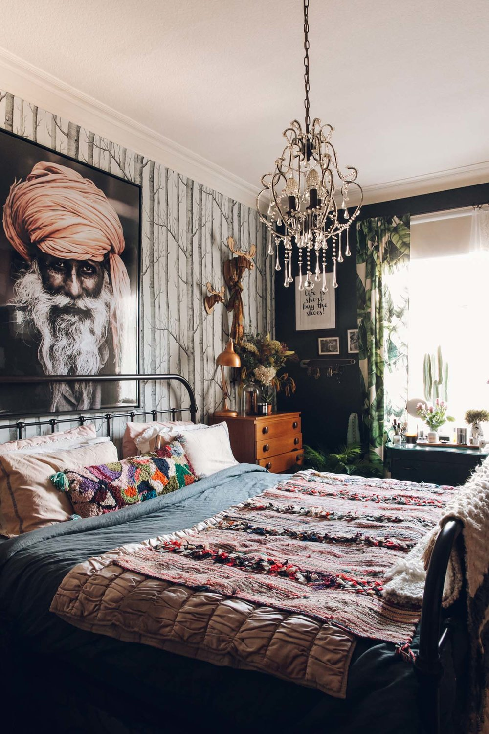 Nicola's bedroom rocks the eclectic boho look, no thanks to the hubby