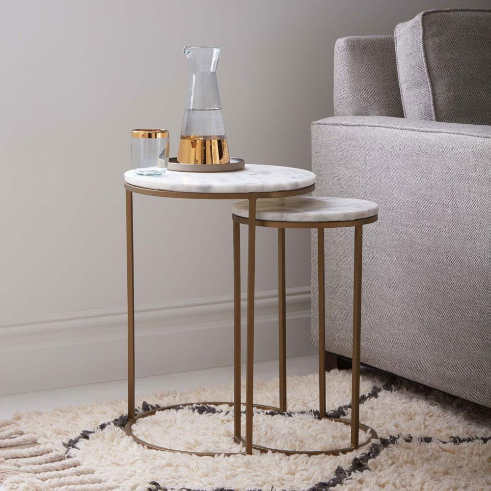 West Elm nesting tables marble and antique brass