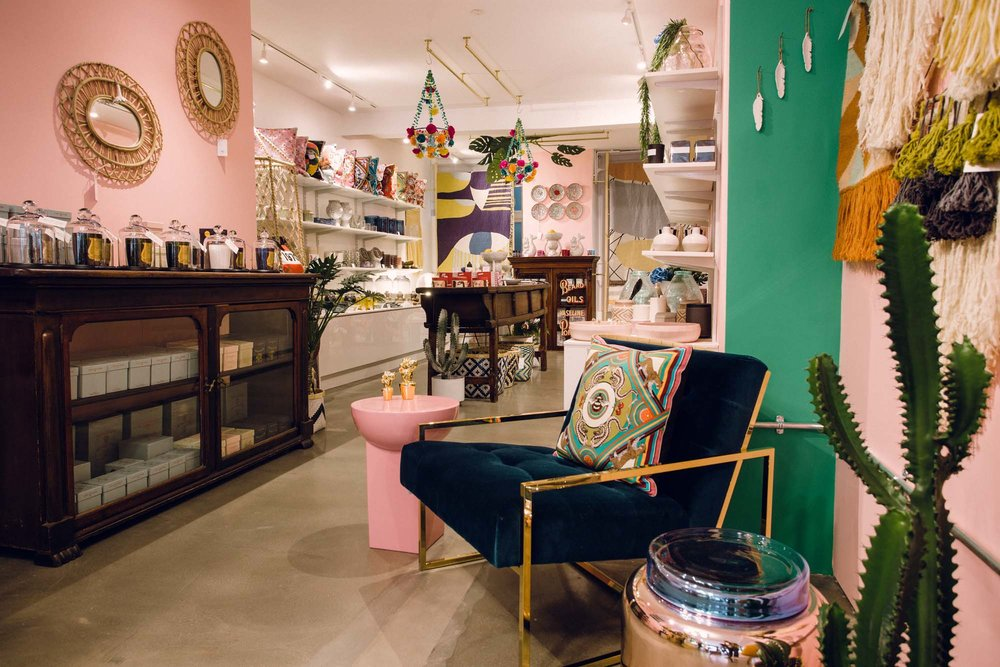 Inside the W.A.Green Shoreditch store, with its walls painted in Angie by Little Greene