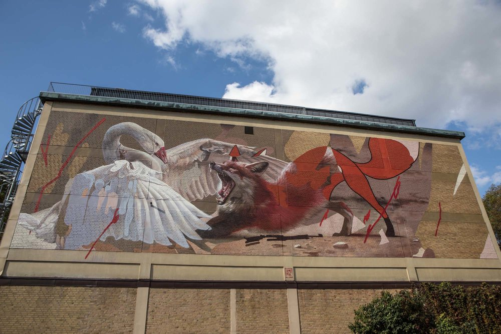 Swan and fox Street art in Boras, Sweden