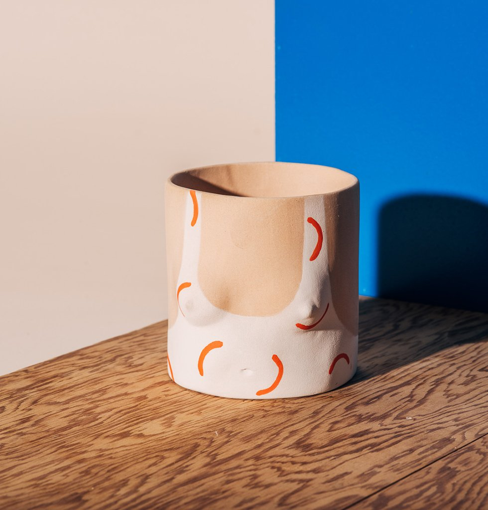 Hockney Girl Orange ceramic by Group Partner at W.A.Green