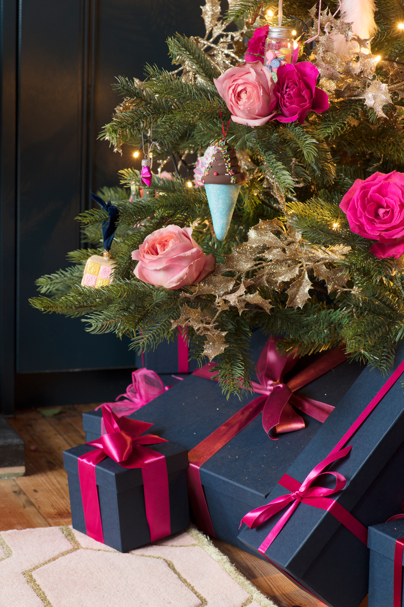 The Pink House Christmas tree with pink roses