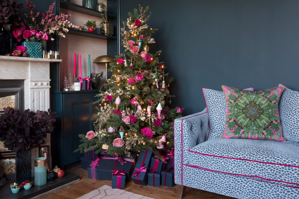 The Pink House's Farrow & Ball Hague Blue sitting room in London