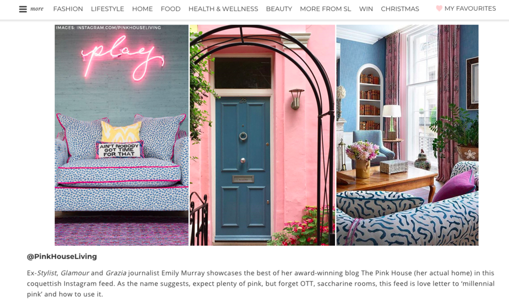 Pink House Living @pinkhouseliving voted best Instagram account for interiors