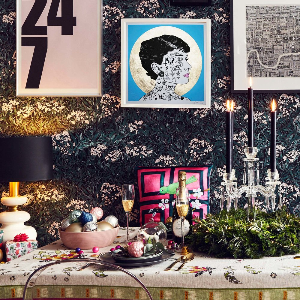 glamorous festive table styled for a new year party