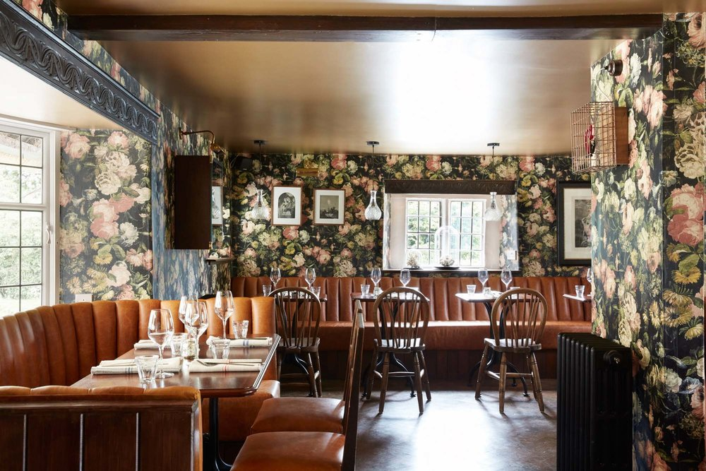 Mr Hanbury's Arms with wallpaper by House of Hackney
