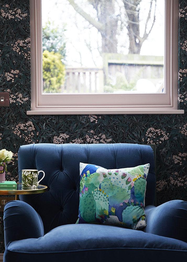 Sofas & Stuff armchair with Ian Mankin velvet upholstery