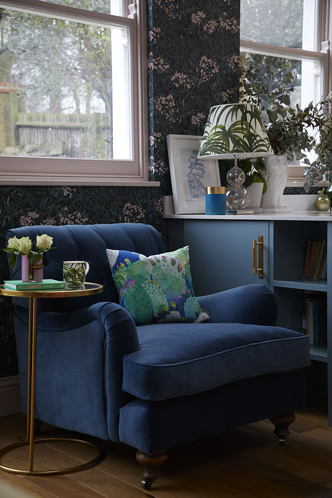 Bluebellgray cactus cushion  and House of Hackney  Palmeral lampshade