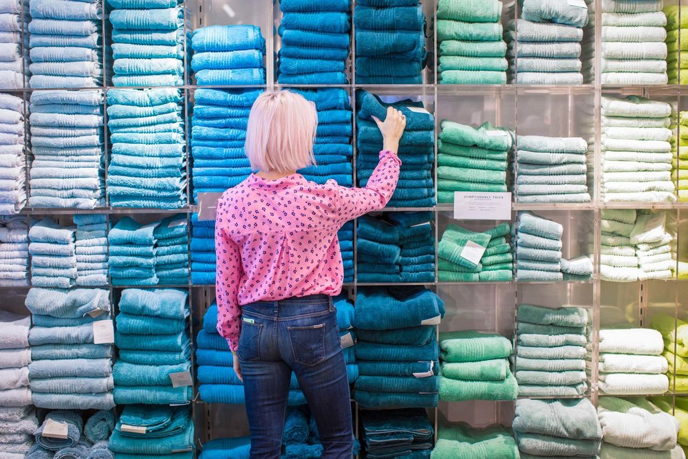 Colour coded blue towel display in Marks & Spencer