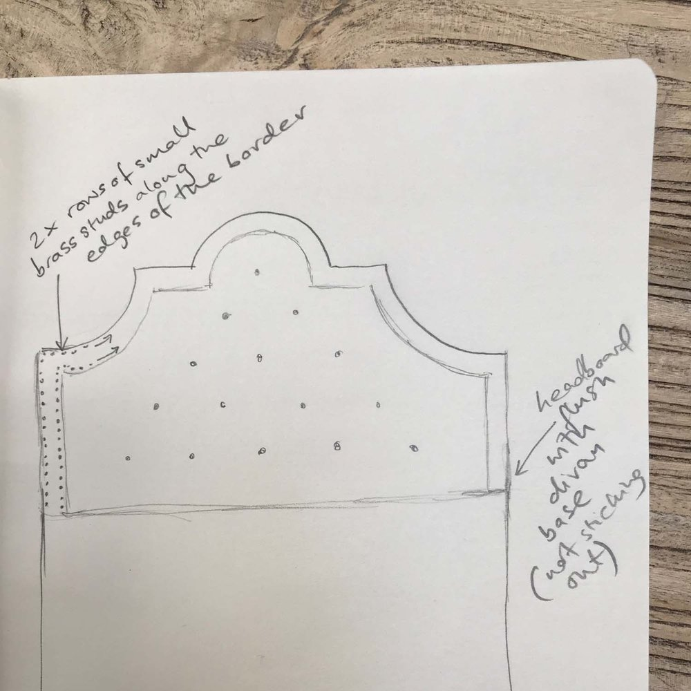 The Pink House sketch for a Hypnos headboard