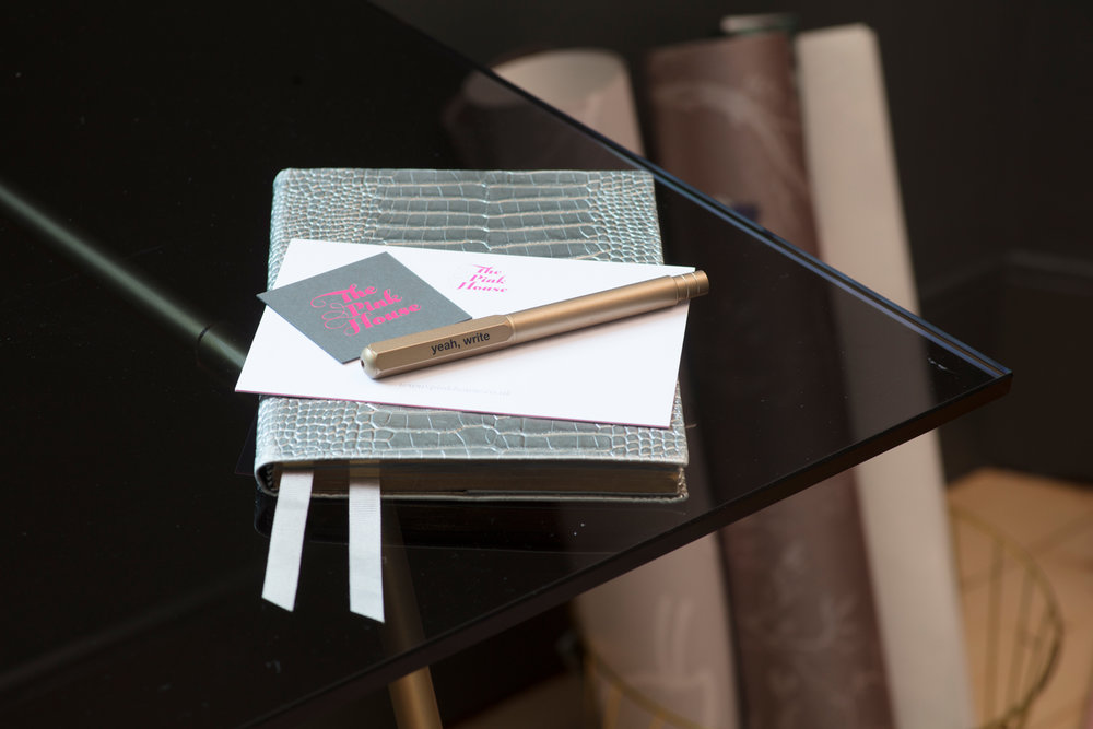 Silver Smythson diary with Paperchase yeah, write gold pen