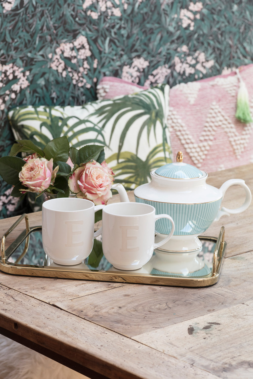 Pretty afternoon tea with initialled mugs and duck egg blue teapot and pink peony roses