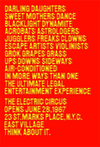 Poster for the Nightclub The Electric Circus, New York, 1967. Design: Chermayeff & Geismar
