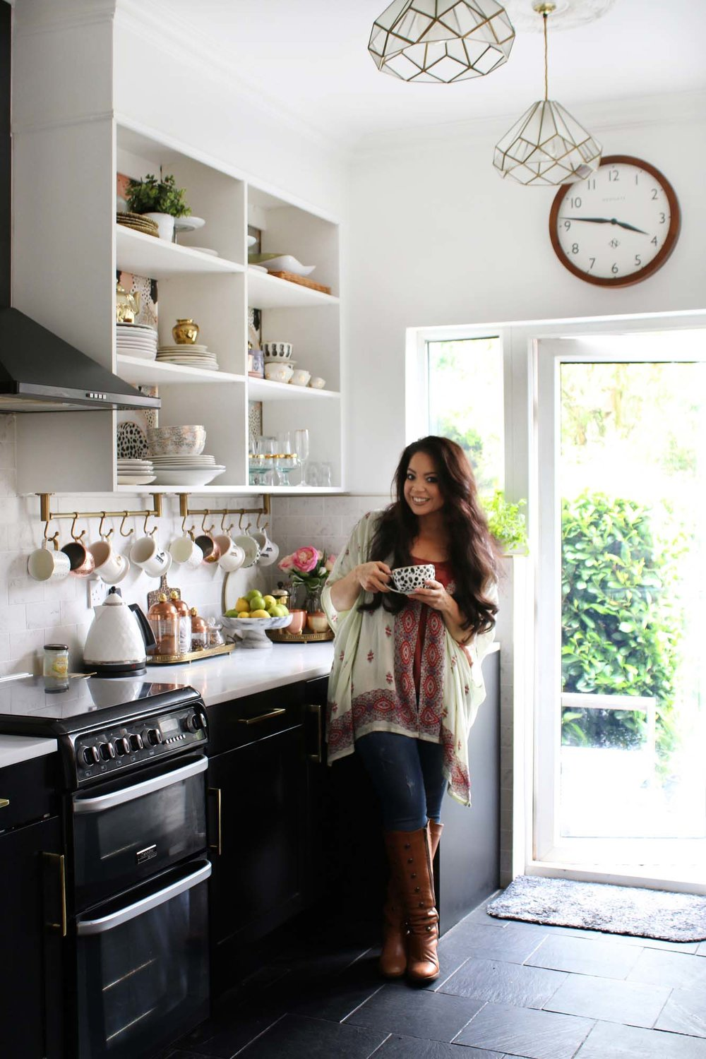 Kimberly from Swoon Worthy in her kitchen