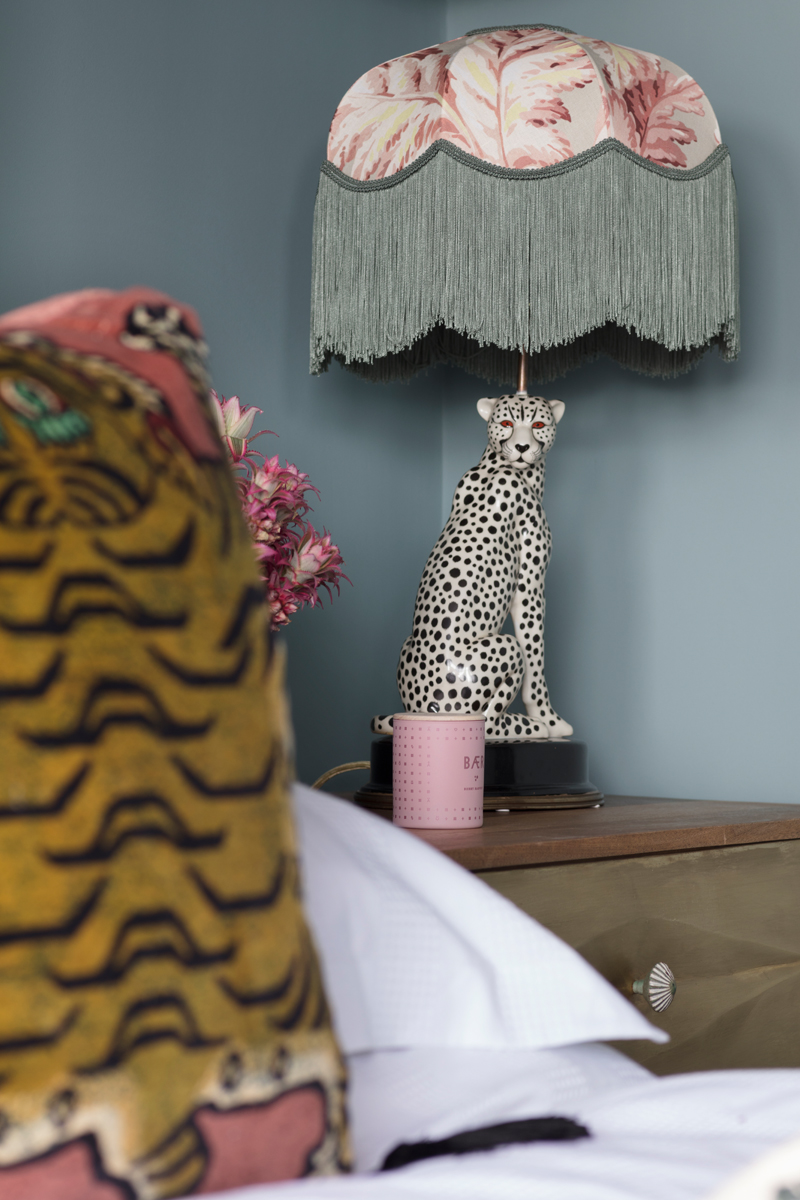 House of Hackney pluma tilia lampshade and Saber tiger pink velvet cushion
