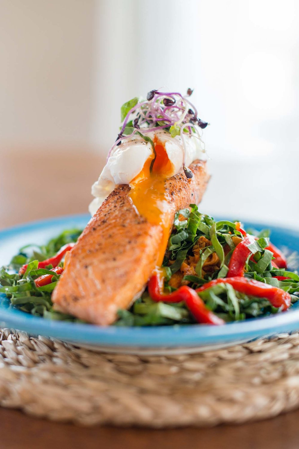 Chef Ben Whale's roast salmon with sweet potato hash and poached egg