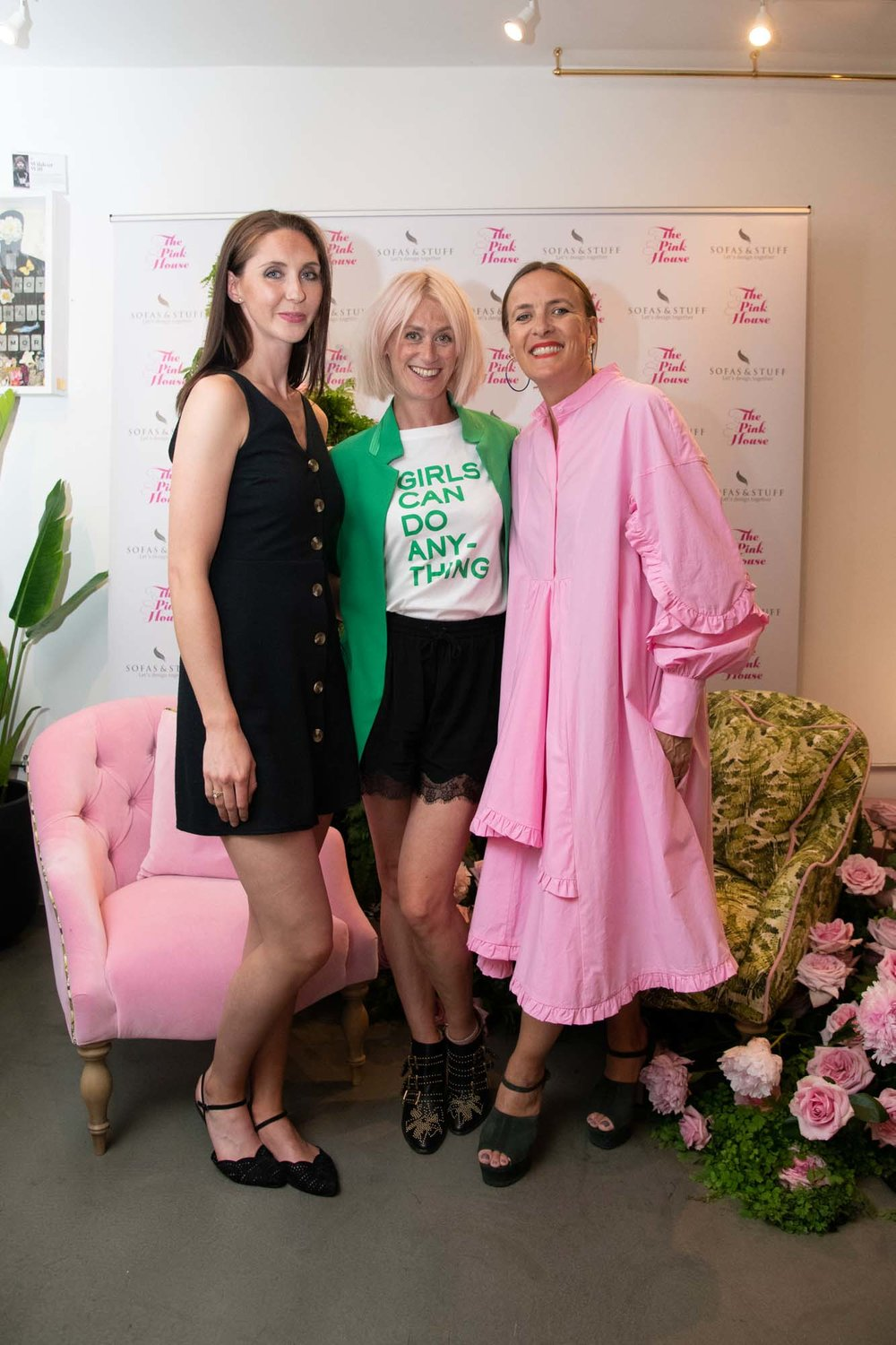 Me with fabric designer Emilie Georgia (L) and Zoe Anderson from W.A. Green